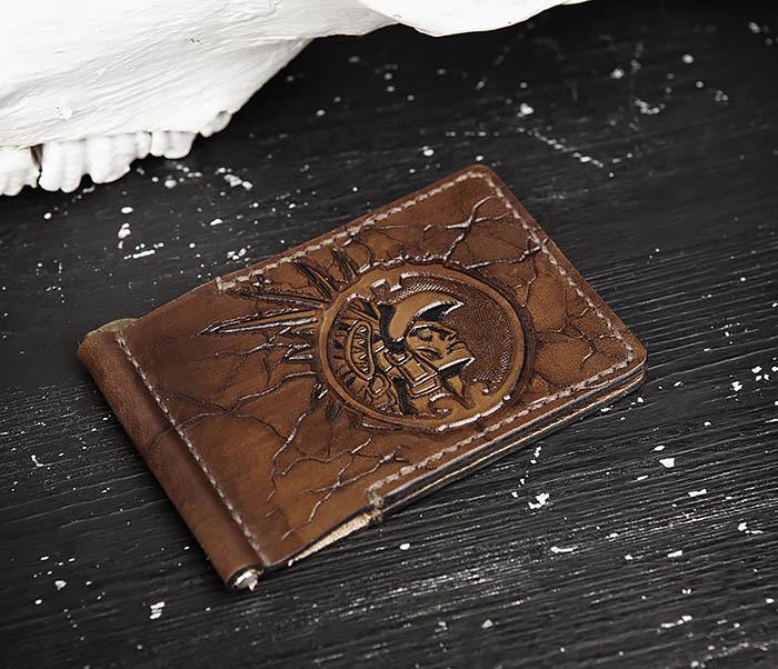 WB189 Кожаный зажим ручной работы «АЦТЕК» фото 03