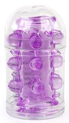 Фиолетовая насадка на фаллос с шипами и бусинами - 7 см.