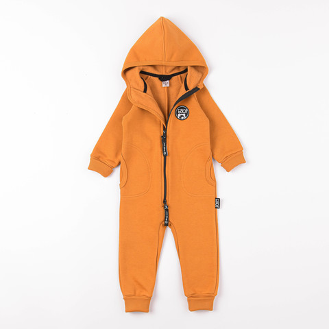 Warm hooded jumpsuit with pockets - Amber Yellow