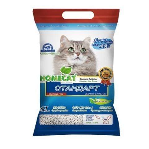 HOMECAT Эколайн Стандарт комкующийся наполнитель для кошачьих туалетов без запаха 6л