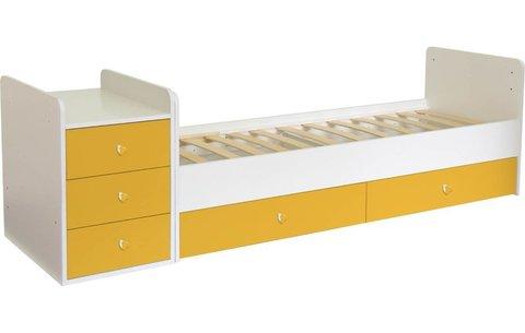 Кроватка детская Polini kids Simple 1100 с комодом, белый-солнечный