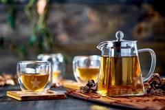 Заварочный чайник с колбой 750 мл, 4 пиалы Ландыш 150 мл, 4 бамбуковые подставки под пиалы