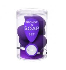 Manly Pro - Набор бьюти спонжей (5 шт.) плюс мыло для очистки спонжей СП20