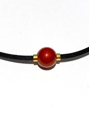 Ожерелье PHITEN RAKUWA NECKLACE METAX MIRROR BALL (красное)