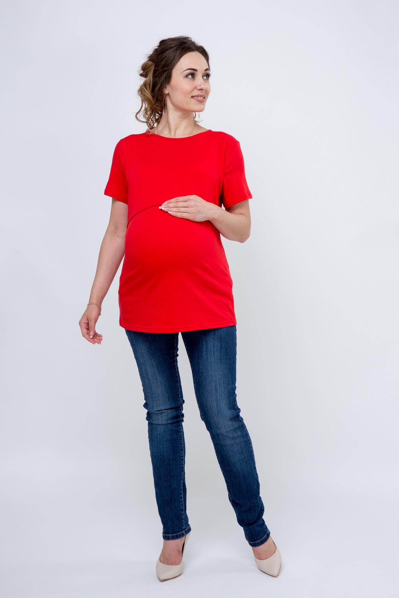 Футболка для беременных и кормящих 09685 красный