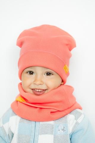 Детская шапка хлопковая в рубчик кораллово-персиковая