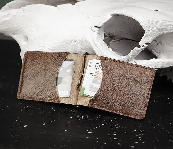 WB189 Кожаный зажим ручной работы «АЦТЕК» фото 05
