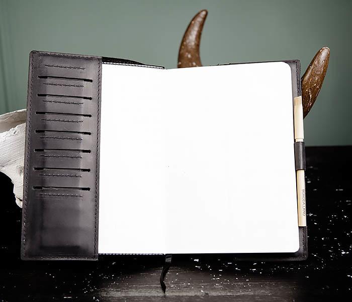 BC135-1 Кожаный блокнот ручной работы черного цвета (А5) фото 08