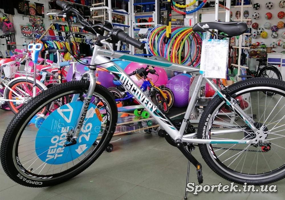 Міський велосипед Discovery Attack Vbr 2021 колеса 26, рама 18 - сріблястий з малахітовим