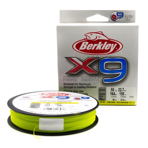 Плетеная леска Berkley X9 150 м. Ярко-зеленая 0,30 мм. 31,5 кг. (1486853)