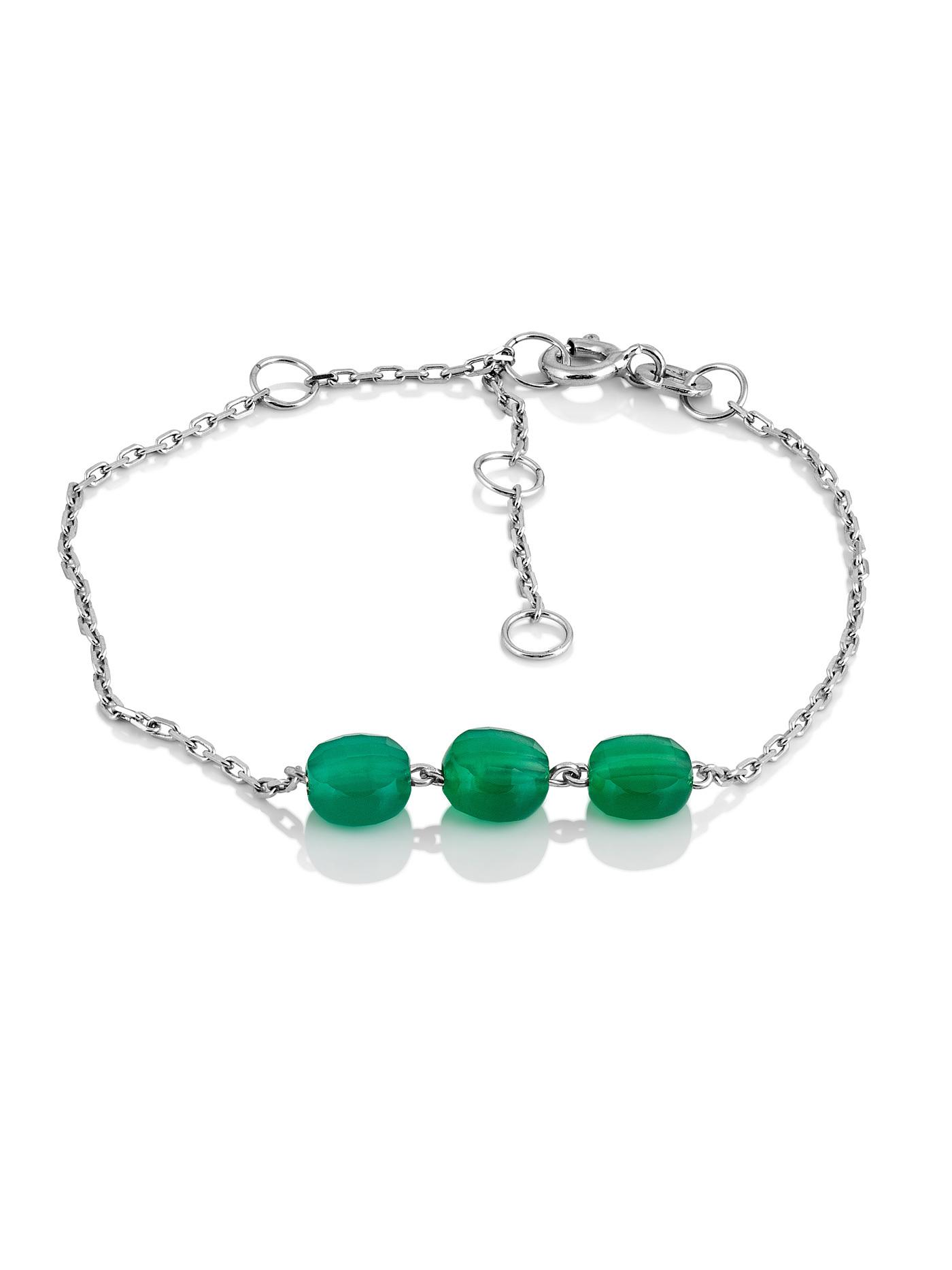 Серебряный браслет с зеленым агатом в подарочной коробке