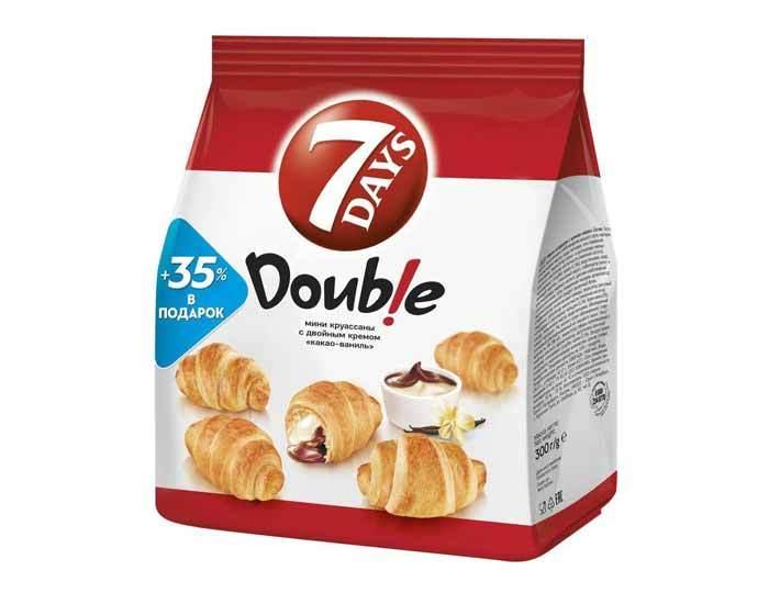 Мини круассаны «7DAYS» Double! с двойным кремом Какао-Ваниль, 300 г