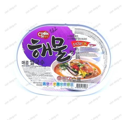 Корейская рисовая лапша со вкусом морепродуктов, 92 гр.