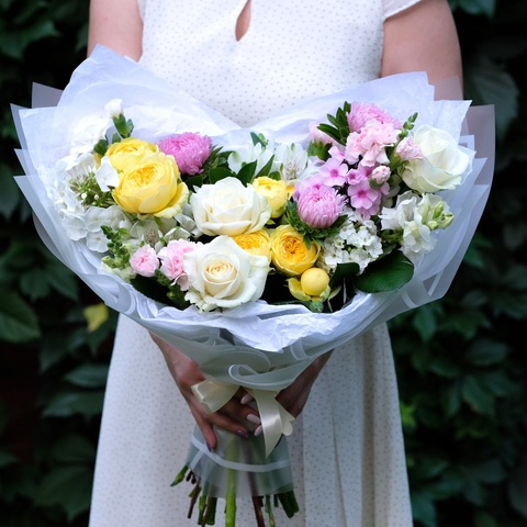 Букет летний 35 с экспериментальными розами