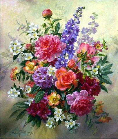 Алмазная Мозаика 40x50 Яркий букет разых цветов