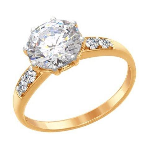 89010085 - Кольцо из золочёного серебра со Swarovski Zirconia