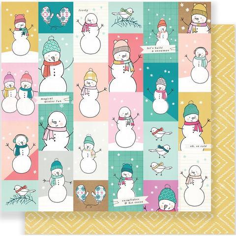Лист двусторонней бумаги  Snow & Cocoa от Crate Paper 30х30см