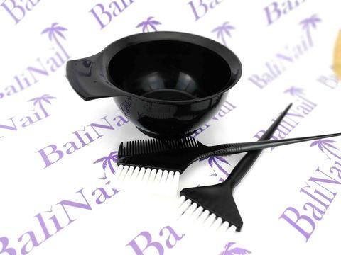 Набор профессиональный для окрашивания волос (мисочка, кисть, кисть с гребнем)