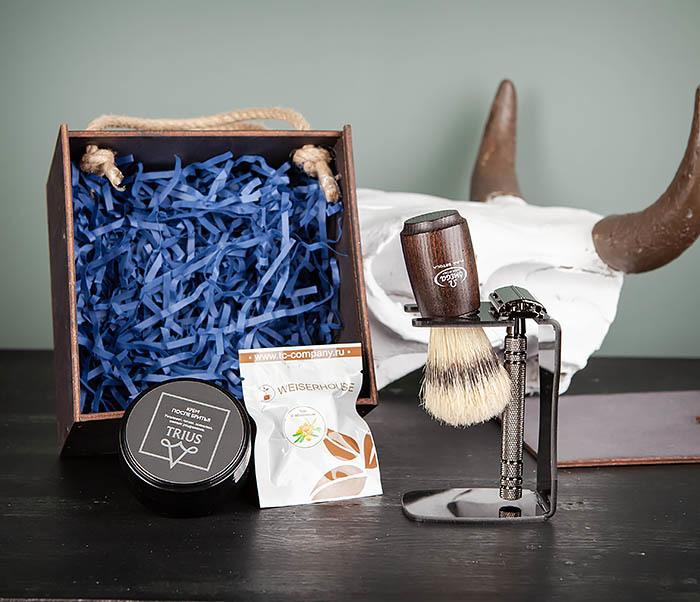 PSET104 Набор для бритья из станка, помазка, подставки и крема фото 03
