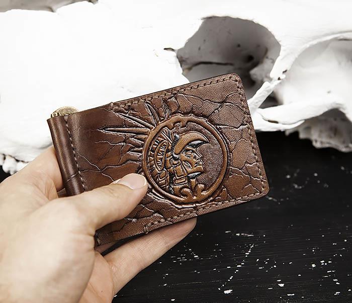 WB189 Кожаный зажим ручной работы «АЦТЕК» фото 09