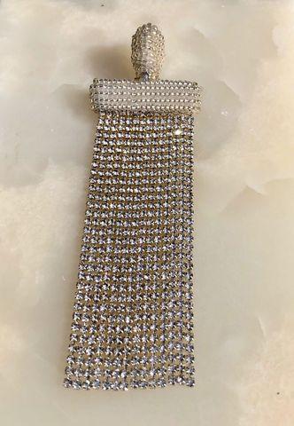 Моносерьга-клипса прямоугольной формы с серебряными кристаллами сваровски