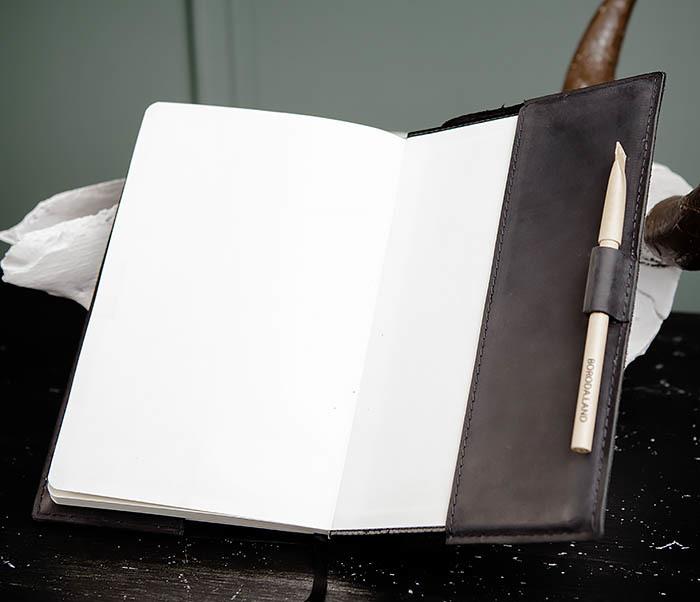 BC135-1 Кожаный блокнот ручной работы черного цвета (А5) фото 10