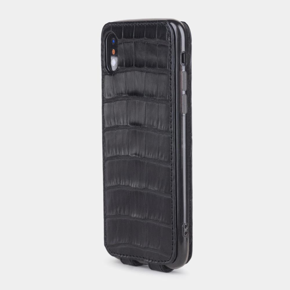 Чехол для iPhone X/XS из натуральной кожи крокодила, черного цвета