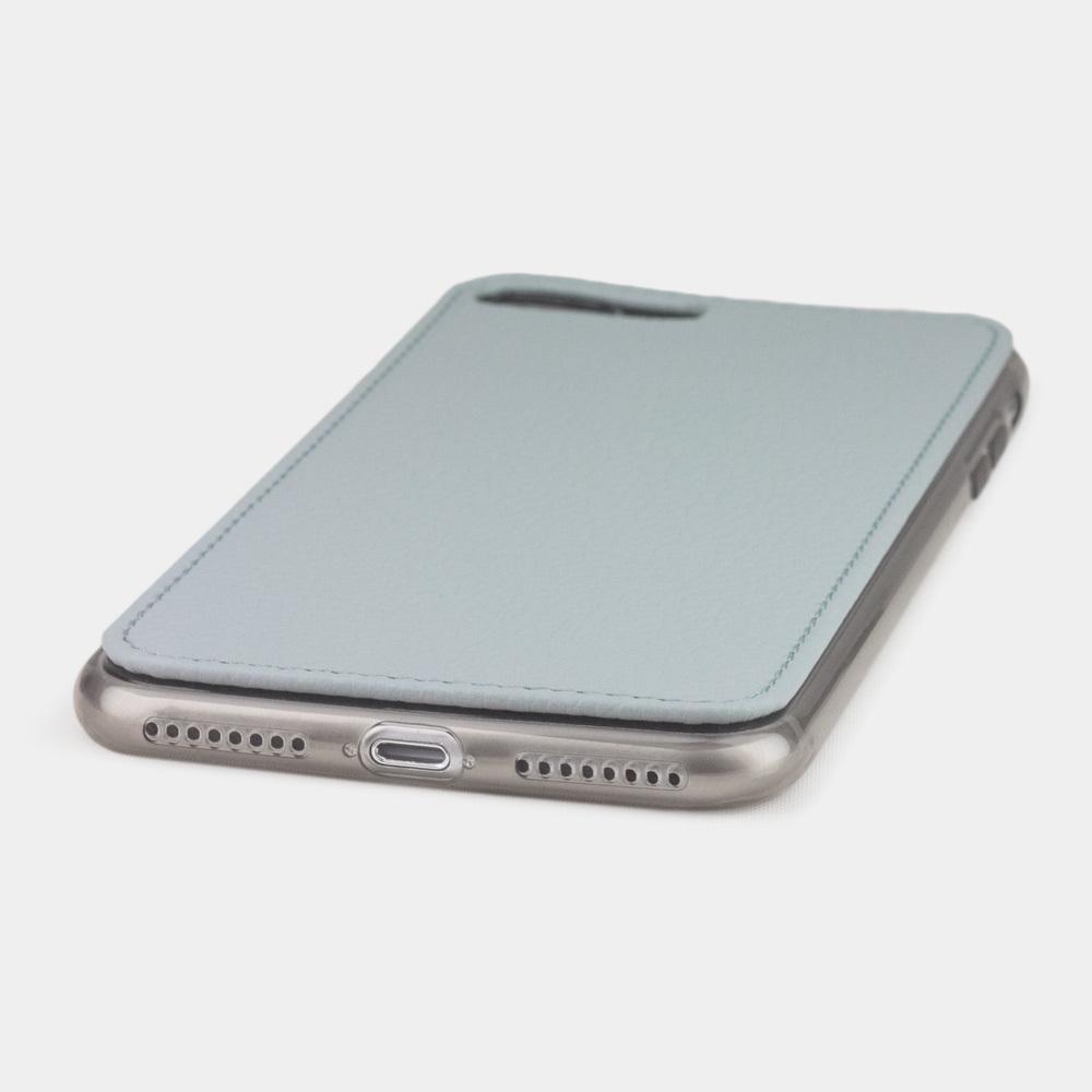 Чехол-накладка для iPhone 8 Plus из натуральной кожи теленка, голубого цвета