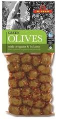 Оливки зеленые с орегано и буково OLIVES с косточкой 150 гр