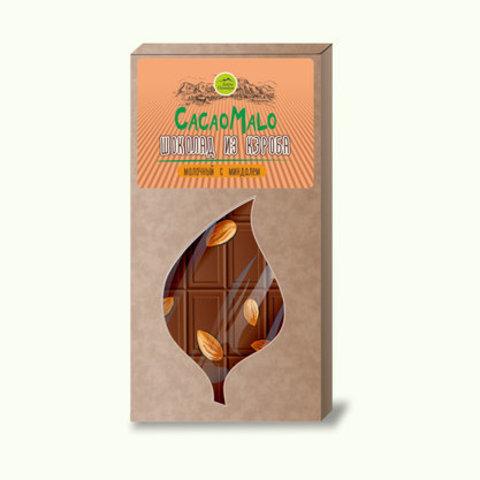 CacaoMalo шоколад молочный из кэроба необжареного с миндалем 85 г