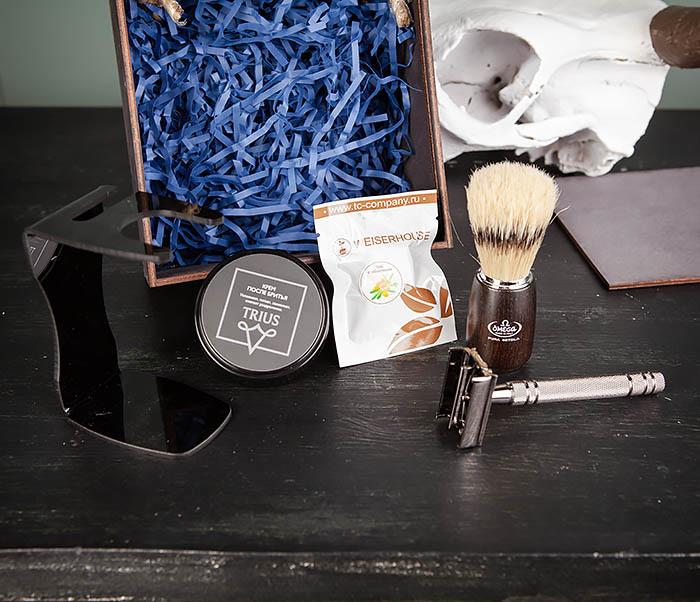 PSET104 Набор для бритья из станка, помазка, подставки и крема фото 04