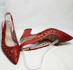 Элегантные туфли на среднем каблуке летние G.U.E.R.O G067-TN Red