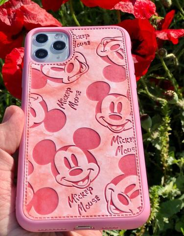 Чехол iPhone X/XS Mickey Mouse Leather vintage /pink/