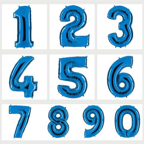 Цифра фольгированная синяя 101 см.