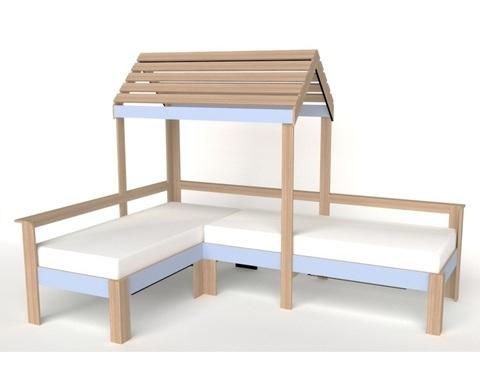 Кровать-домик АВАРА-3 правая 1700-700 /2552*1800*1832/