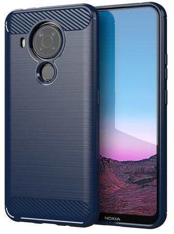 Мягкий чехол темного синего цвета для Nokia 5.4, серия Carbon (стиль карбон) от Caseport