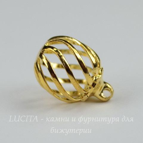 Подвеска - шарик ажурный (цвет - золото)  14х11 мм