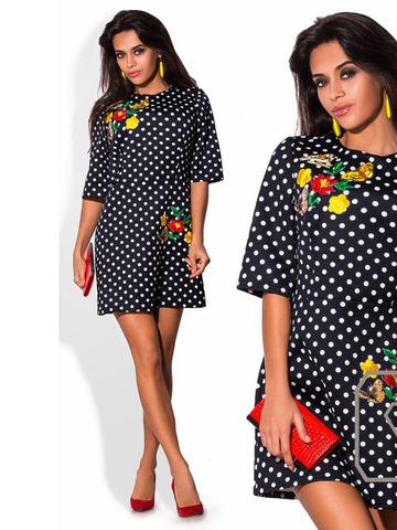 Трикотажное платье в горошек, с апликацией