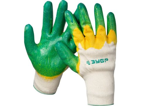 ЗУБР х2 ЗАЩИТА, размер L-XL, перчатки с двойным латексным обливом