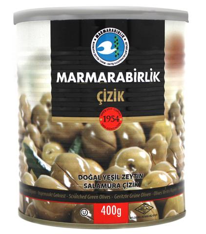 Оливки зеленые надрезанные 2XS, Marmarabirlik, 400 г