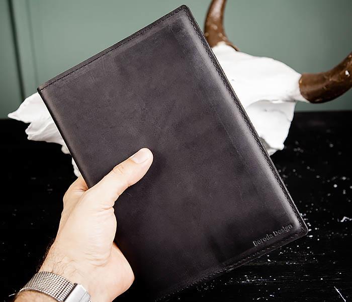 BC135-1 Кожаный блокнот ручной работы черного цвета (А5) фото 11