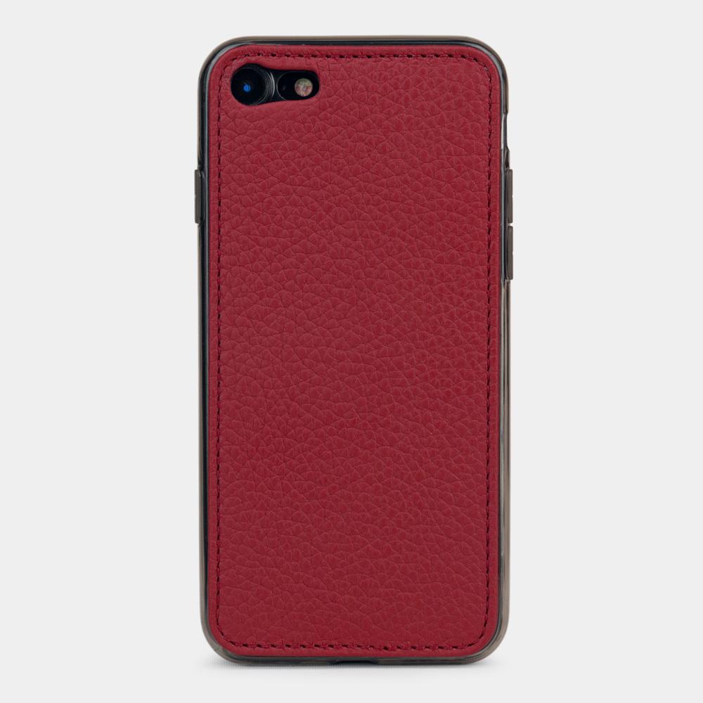 Чехол-накладка для iPhone SE/8 из натуральной кожи теленка, вишневого цвета