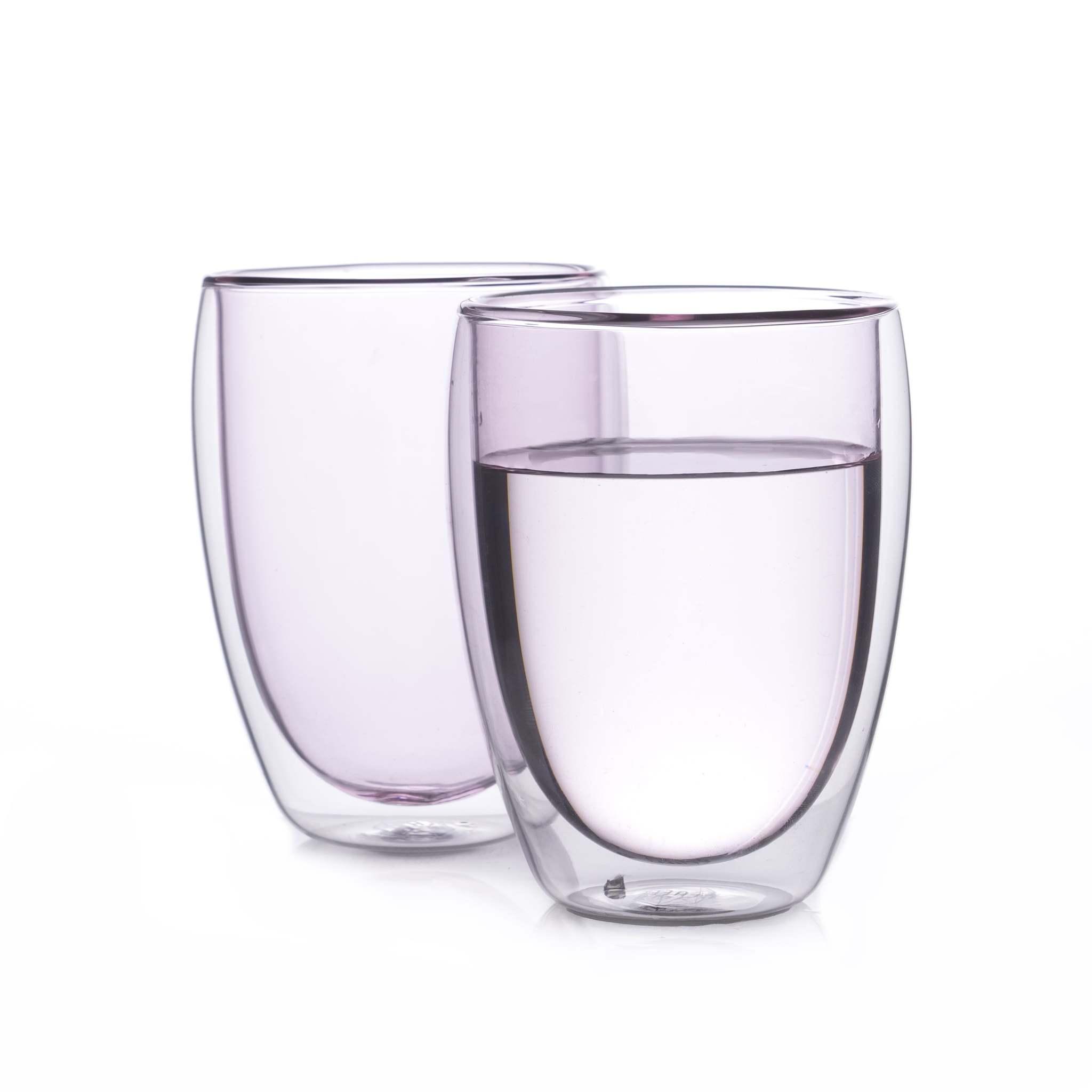 Цветные стаканы и кружки Набор стаканов из двойного стекла розового цвета 350 мл, 2 шт. розовый2-min.jpg