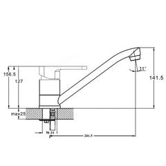 Фото размеры смесителя для кухни Zegor PAN4-A