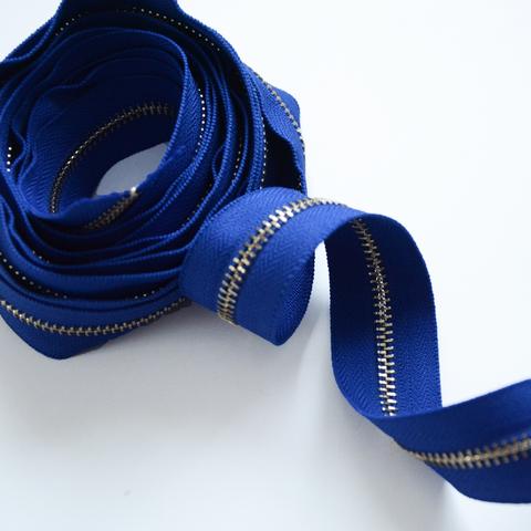 Молния металлическая №5, Ярко-синий, цена за 10 см.