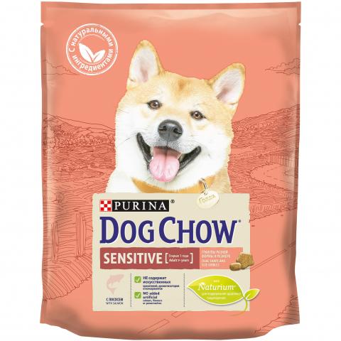 PURINA DOG CHOW Сухой корм для взрослых собак с чувствительным пищеварением с лососем Sensitive