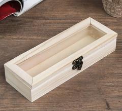 Шкатулка прямоугольная со стеклом 3,8*19,7*7 см, деревянная, 1 шт.
