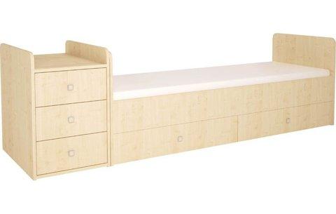 Кроватка детская Polini kids Simple 1100 с комодом, натуральный