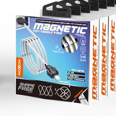 Кабель Lightning Moxom MX-CB46 Magnetic Clips, 2.4A, 1m. white