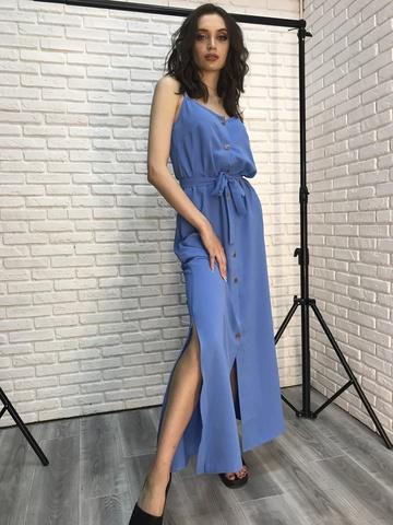Длинный сарафан голубой недорого
